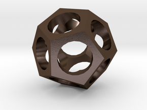Pendant -dodecahedron in Polished Bronze Steel