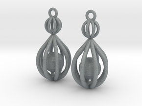 Cage Drop Earrings in Polished Metallic Plastic