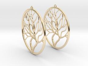 Tree Big Hoop Earrings 60mm in 14K Yellow Gold