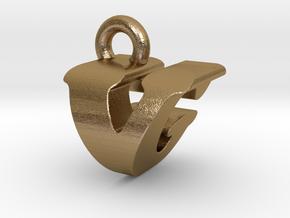 3D Monogram - VGF1 in Polished Gold Steel