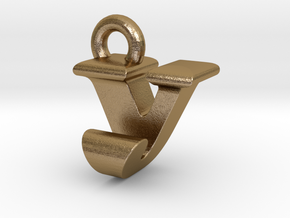 3D Monogram - VJF1 in Polished Gold Steel