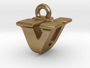 3D Monogram - VUF1 in Polished Gold Steel