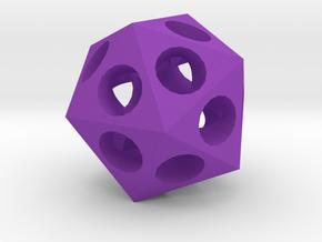 Pendant - Icosahedron in Purple Processed Versatile Plastic