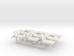 Pool Chairs, N-Scale 1:160 (9 pieces) in White Strong & Flexible