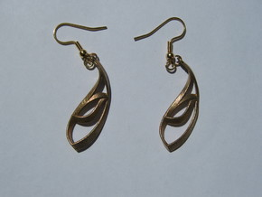 Thick Leaf Earrings in Raw Bronze