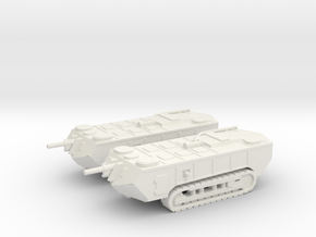1/160 WW1 Saint-Chamond tanks x2 in White Strong & Flexible