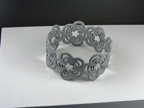 Flower Bracelet (closed) in Polished Metallic Plastic
