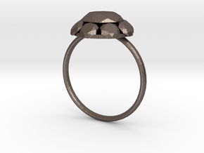 Diamond Ring US Size 7 UK Size O in Polished Bronzed Silver Steel