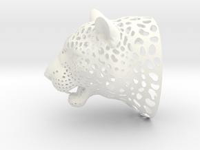 Leopard Head sculpture. WT-1. 15 cm in White Strong & Flexible Polished