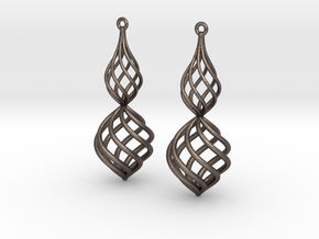Posh Big Earrings 50mm in Polished Bronzed Silver Steel