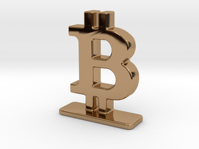 Bitcoin Stand in Polished Brass