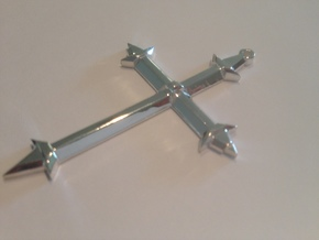 Medieval Style Cross Pendant Charm in Polished Silver