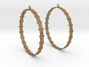 Knitted 2 Hoop Earrings 60mm in Natural Brass