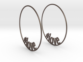 Hashtag Love Hoop Earrings 60mm in Polished Bronzed Silver Steel