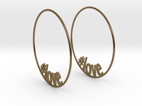 Hashtag Love Hoop Earrings 60mm in Natural Bronze