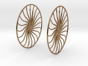 Flowerish 4 Big Hoop Earrings 60mm in Natural Brass