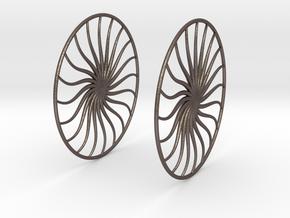 Flowerish 4 Big Hoop Earrings 60mm in Polished Bronzed Silver Steel