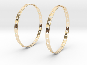 Big Hoop Earrings With Hearts 60mm in 14K Yellow Gold