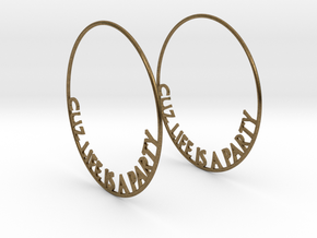 Cuz Life Is A Party Big Hoop Earrings 60mm in Natural Bronze