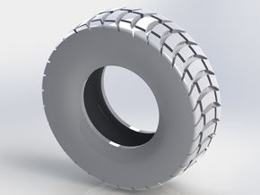 85mm Diameter Chunky Tyre in White Natural Versatile Plastic