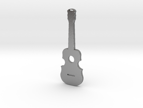 Guitar Pendant in Natural Silver