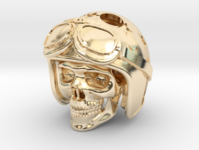 "Easy Rider Skull Pendant ""Silver"" in 14K Yellow Gold"