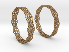Wired Beauty 2 Hoop Earrings 50mm in Natural Brass
