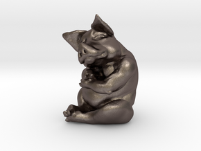Piggy 3 Inches Tall in Polished Bronzed Silver Steel