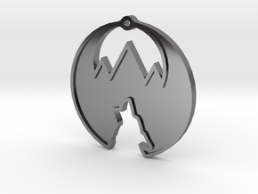Western Design Logo Necklace/Pendant 1.25 Inches in Fine Detail Polished Silver
