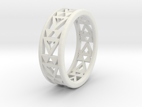 Simple Fractal Ring in White Natural Versatile Plastic