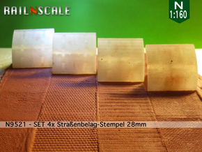 SET 4x Straßenbelag-Stempel 28mm (N 1:160) in Smooth Fine Detail Plastic