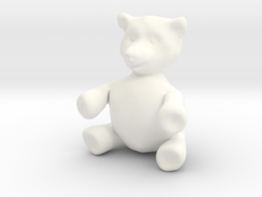 "BIG (3"") Teddy Bear! in White Strong & Flexible Polished"