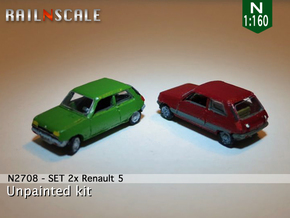 SET 2x Renault 5 (N 1:160) in Smooth Fine Detail Plastic