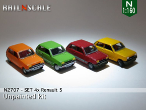SET 4x Renault 5 (N 1:160) in Smooth Fine Detail Plastic