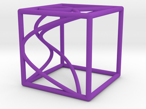 Space Curve and Projections, with Node in Purple Processed Versatile Plastic