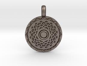 SAHASRARA Crown Chakra Jewelry Pendant in Polished Bronzed Silver Steel