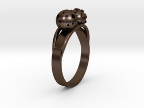 Diam=18. Bague Toi Et Moi. Ring Duo Sphere. in Polished Bronze Steel