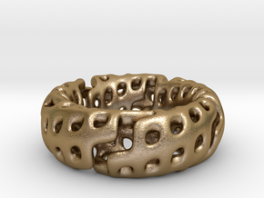 Zig-Zag Torus Knot (17.7mm diameter, ~US size 7.5) in Polished Gold Steel