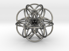 Seed of Life: Cuboctahedral Flower in Polished Silver