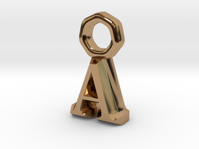 Pendant A Letter in Polished Brass
