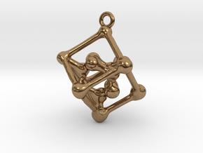 Bone cube pendant in Natural Brass