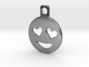 Heart Eyes Emoji Keychain in Polished Silver