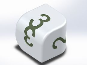 D3 die with convex faces (card digits) in White Natural Versatile Plastic