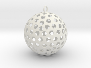 Christmas Bauble 8 in White Natural Versatile Plastic
