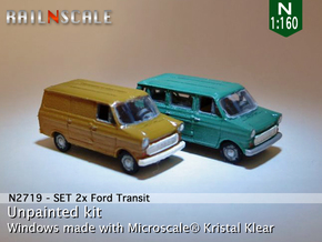 SET 2x Ford Transit (N 1:160) in Smooth Fine Detail Plastic