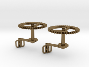 Bicycle Chainring Cufflinks in Polished Bronze