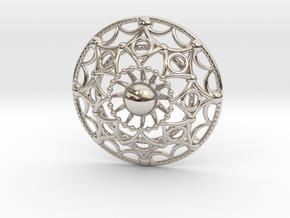 Mandala Flux Pendant in Platinum