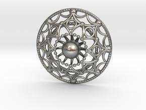 Mandala Flux Pendant in Natural Silver