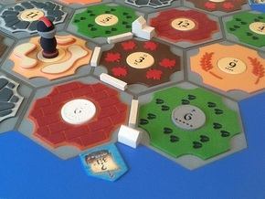 Catan Hex Tile Sheep Tracks 79mm in Full Color Sandstone