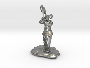 Tiefling Paladin Mini in Plate with Great Axe in Natural Silver